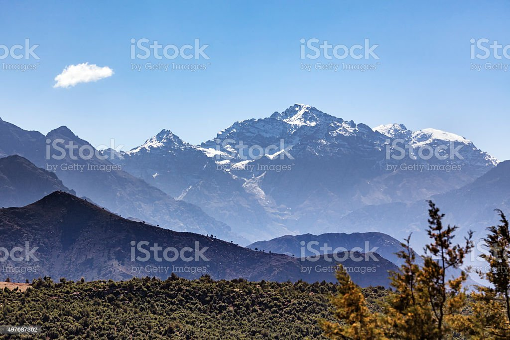 Toubkal mountain peaks, Atlas Mountains, Morocco stock photo