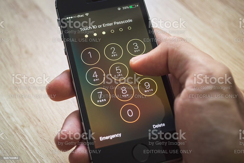 Touch ID or Enter Passcode stock photo