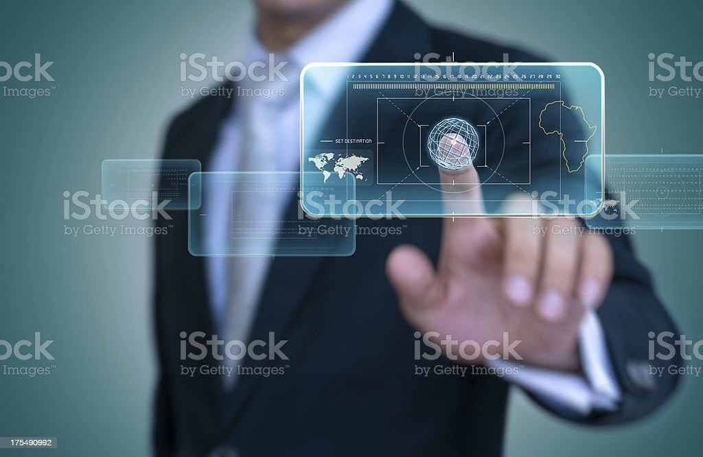 Touch interface selected destination royalty-free stock photo