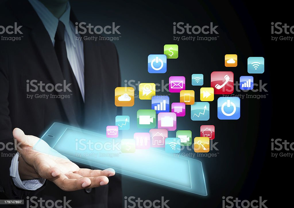 Touch pad with icons royalty-free stock photo
