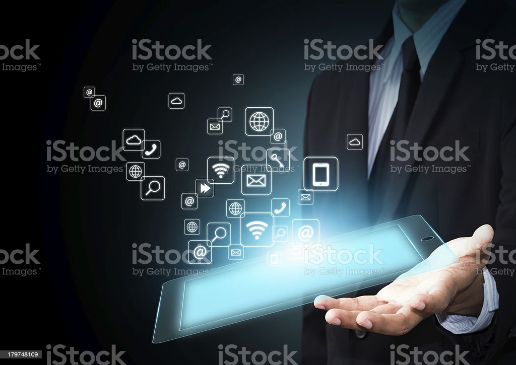 Touch pad with icons stock photo