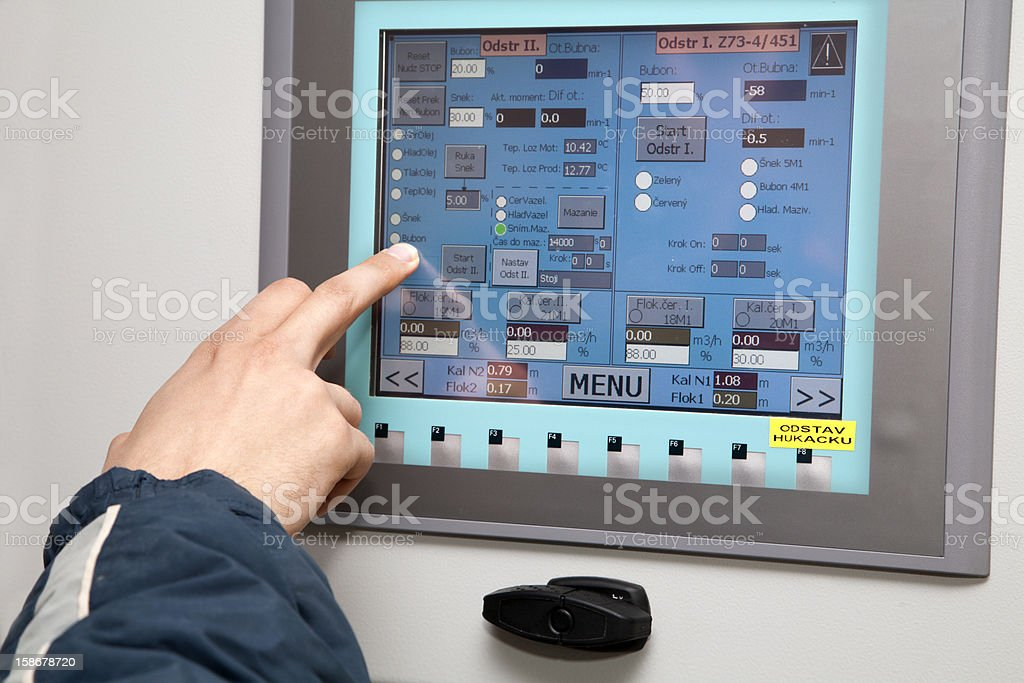 touch panel and hand stock photo