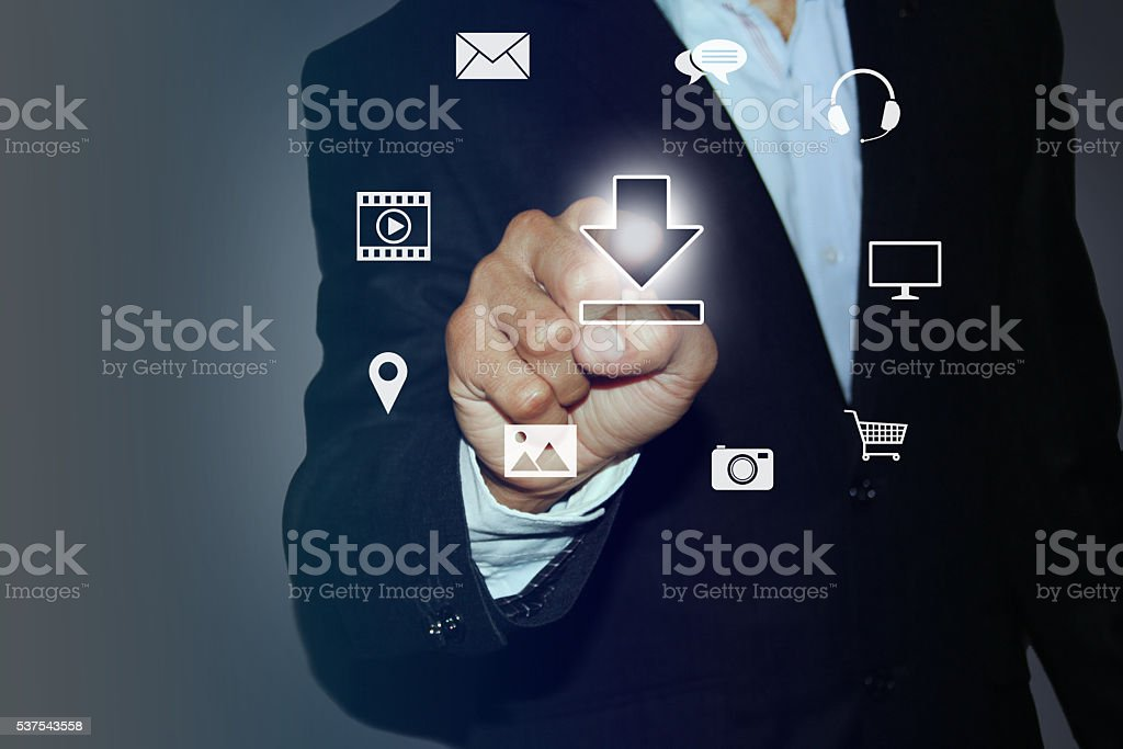 Touch Screen and Download Media Files stock photo