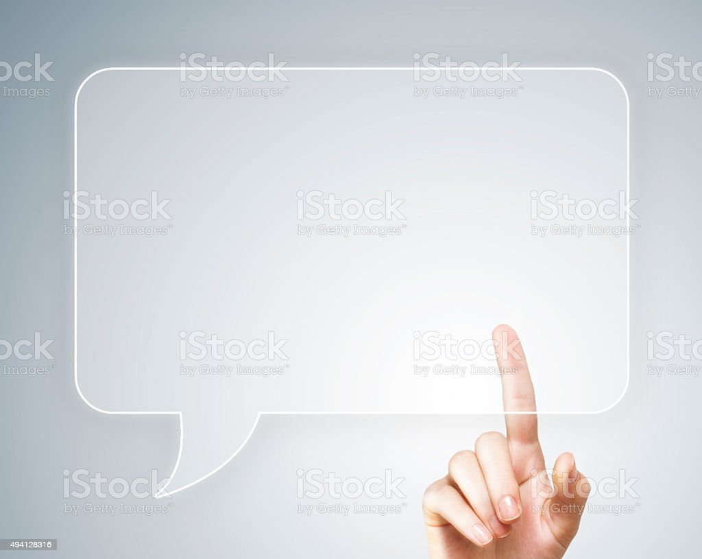 Touch screen bubble speach (Click for more) stock photo