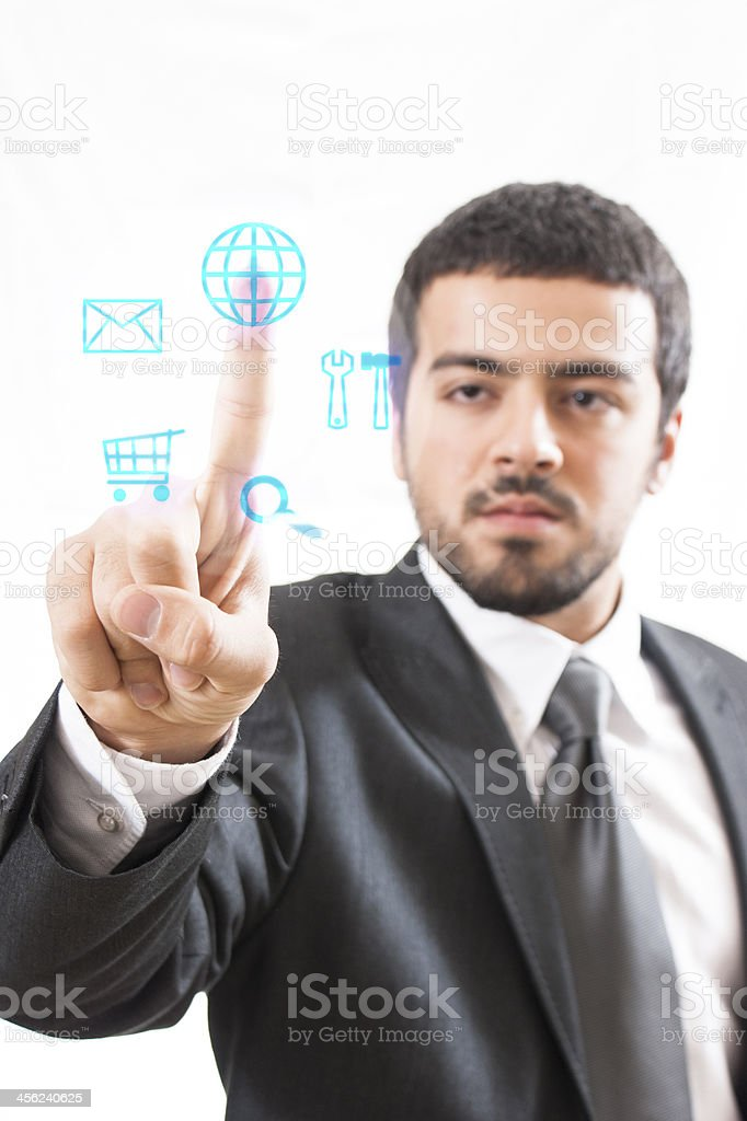 Touch Screen business man stock photo