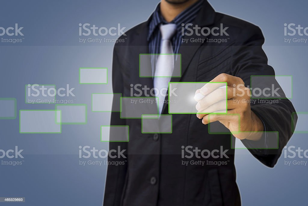 Touch screen by businessman stock photo