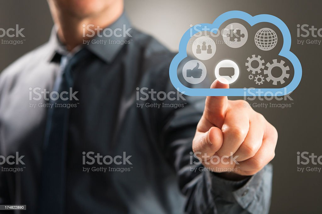 Touch screen cloud network royalty-free stock photo