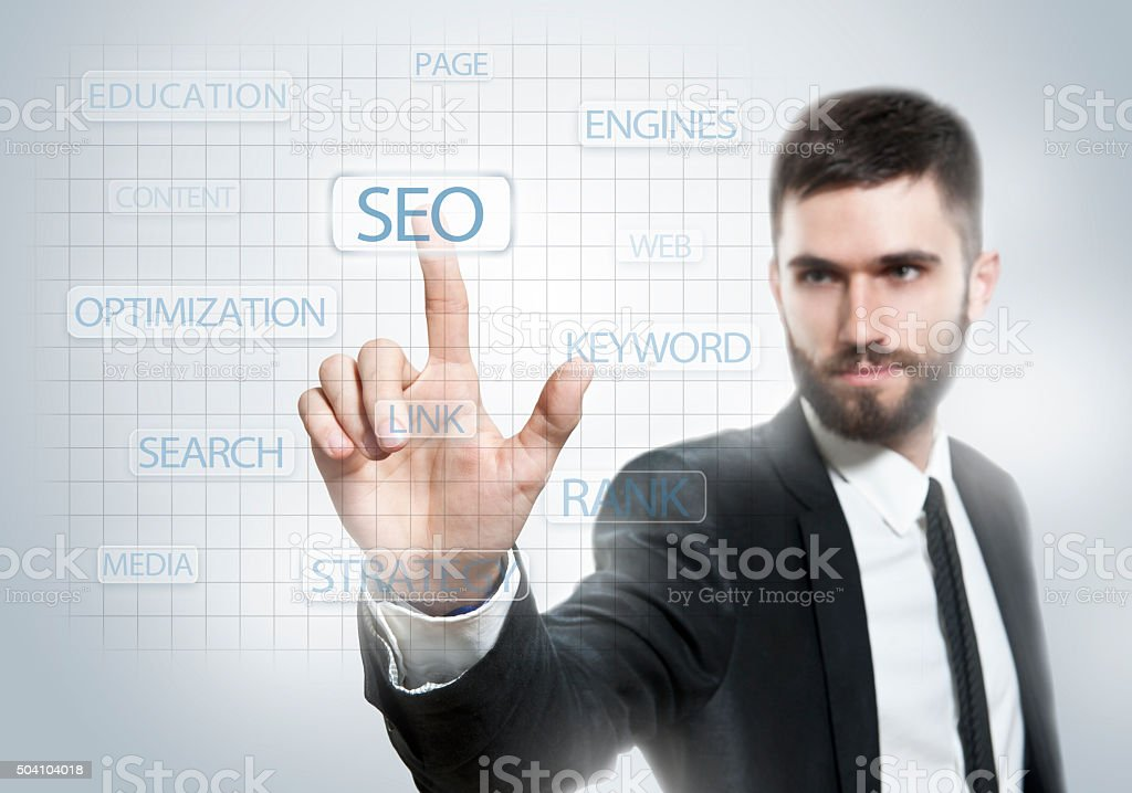 SEO / Touch screen concept (Click for more) stock photo