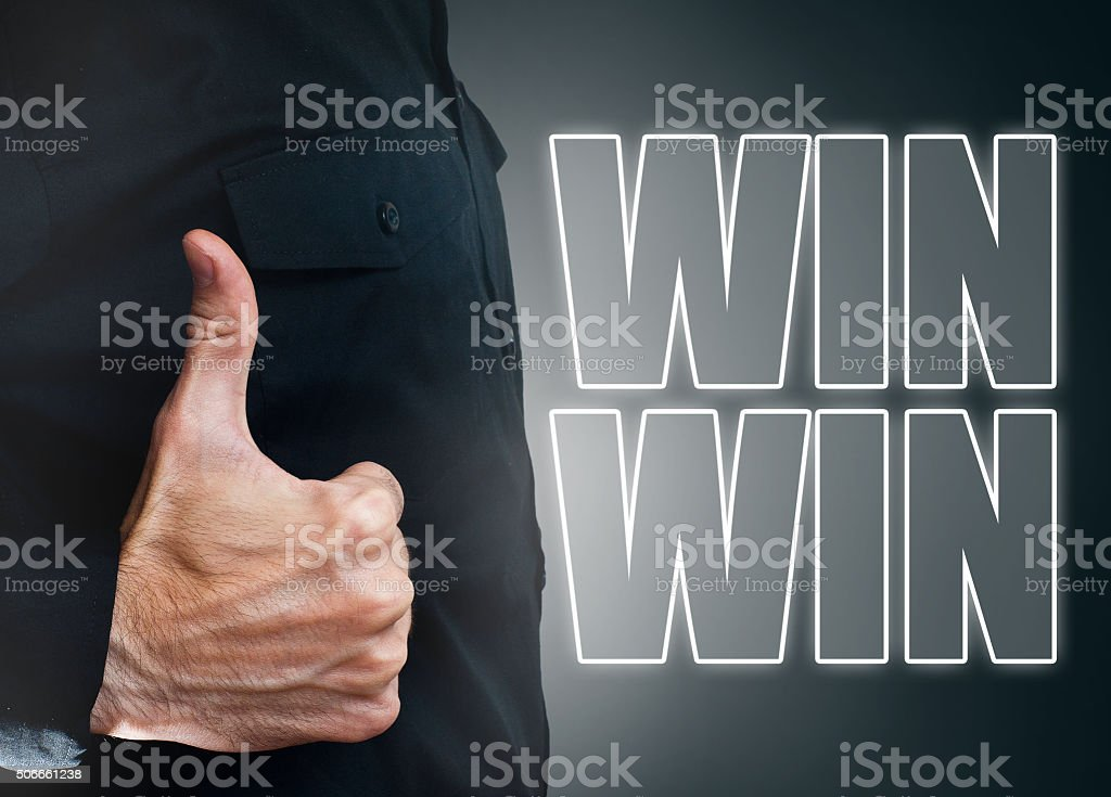 WIN / WIN / Touch screen concept (lick for more) stock photo