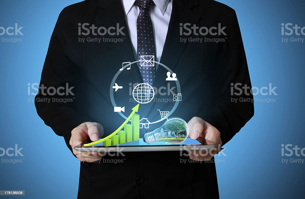 touch screen graph on a tablet royalty-free stock photo