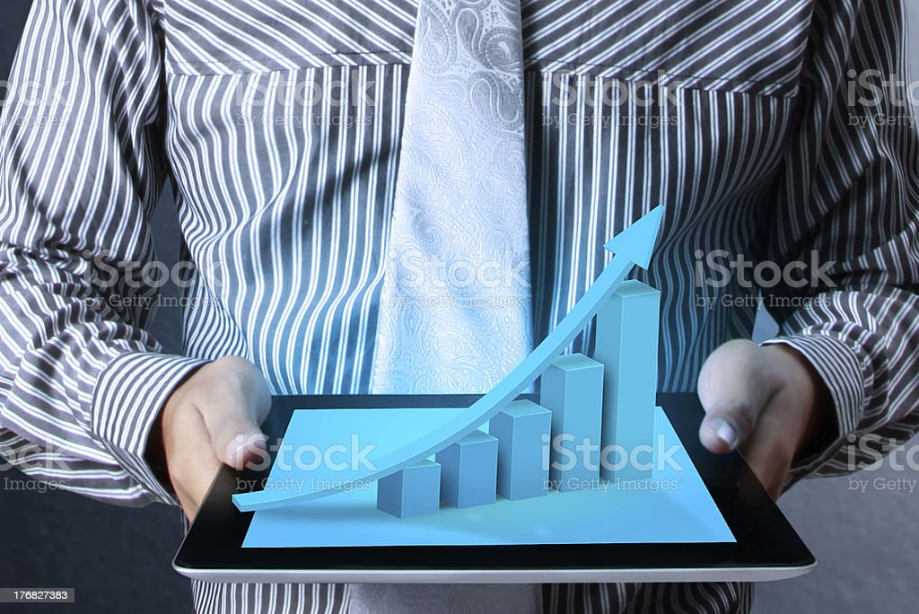 touch screen graph on tablet royalty-free stock photo