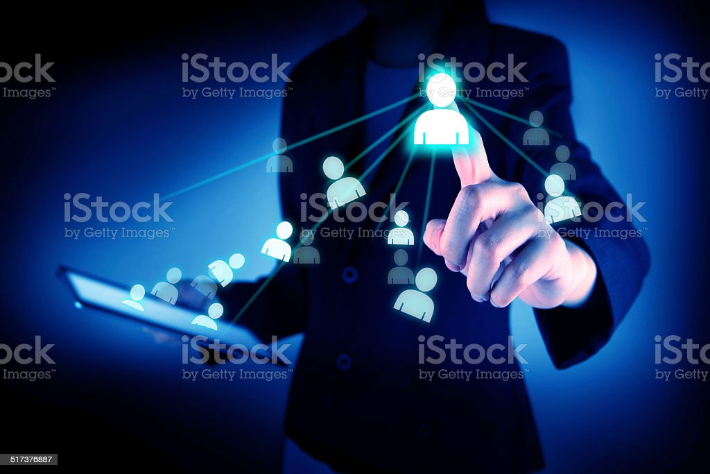 Touch screen interface social network structure stock photo