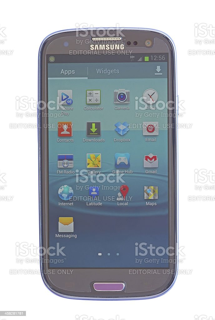 Touch screen phone menu stock photo