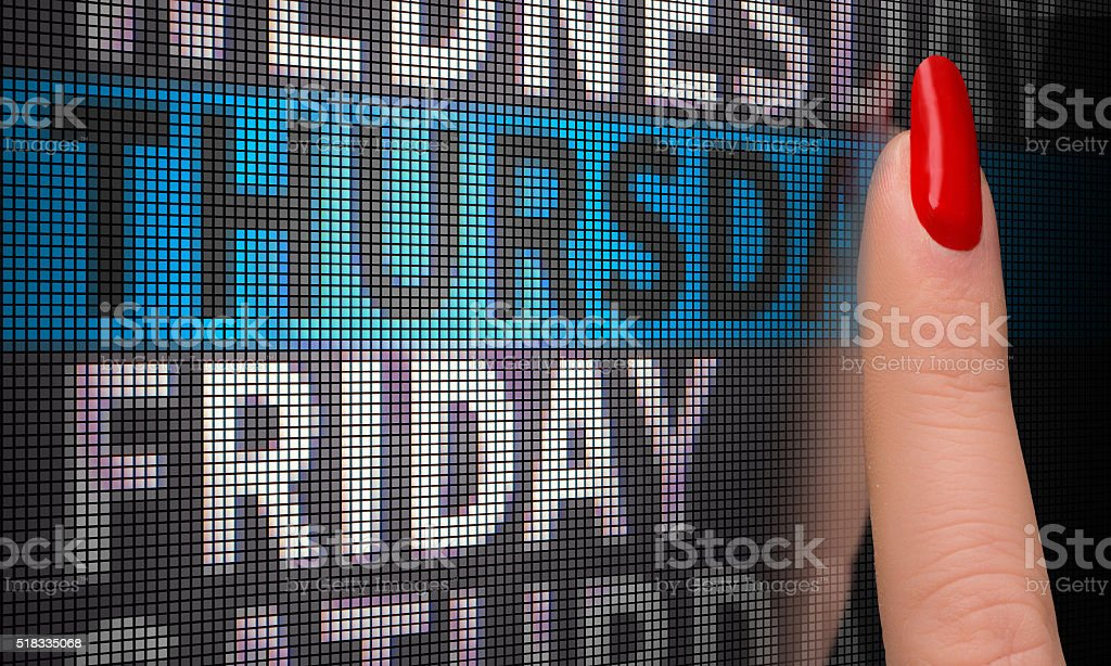 touch screen select thursday stock photo