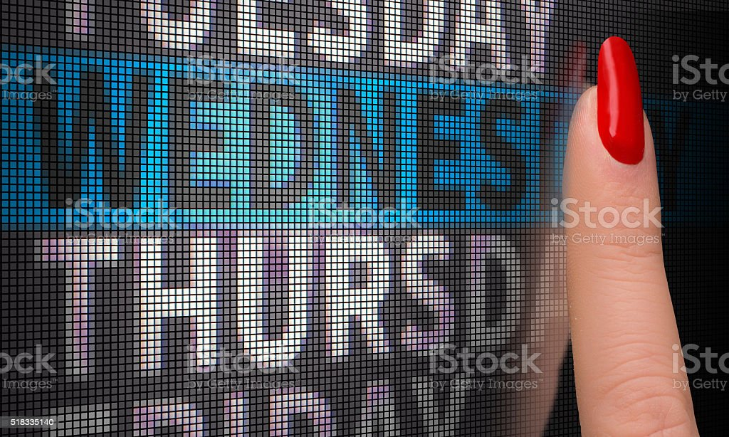 touch screen select wednesday stock photo