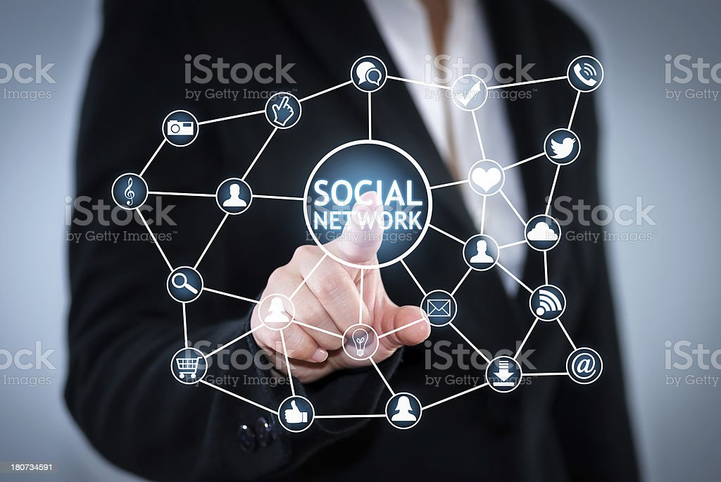 Touch Screen Social Network stock photo