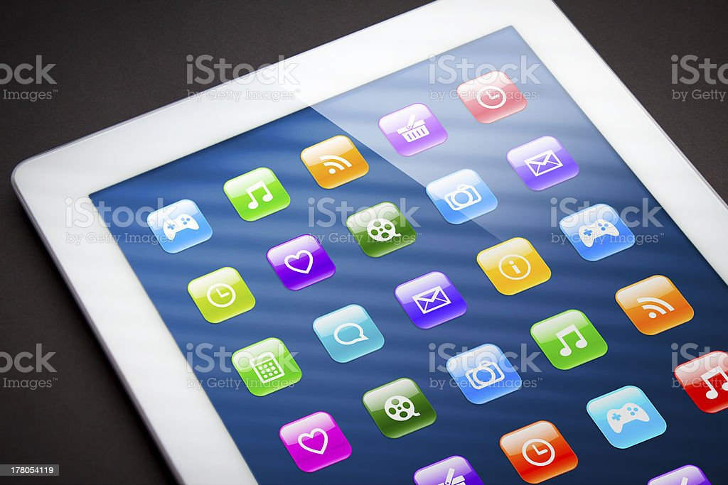 Touch screen tablet with apps royalty-free stock photo