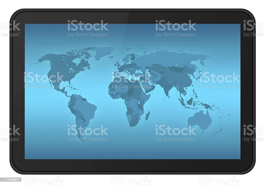 Touch screen tablet with world map XXL royalty-free stock photo