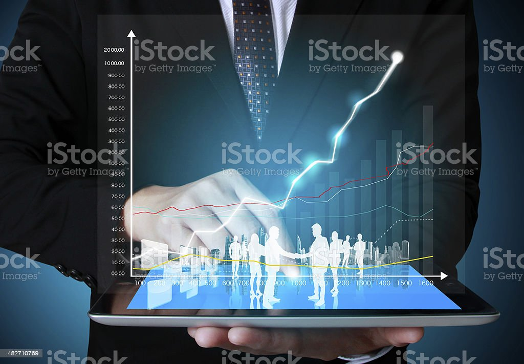 touch screen ,touch- tablet in hands stock photo