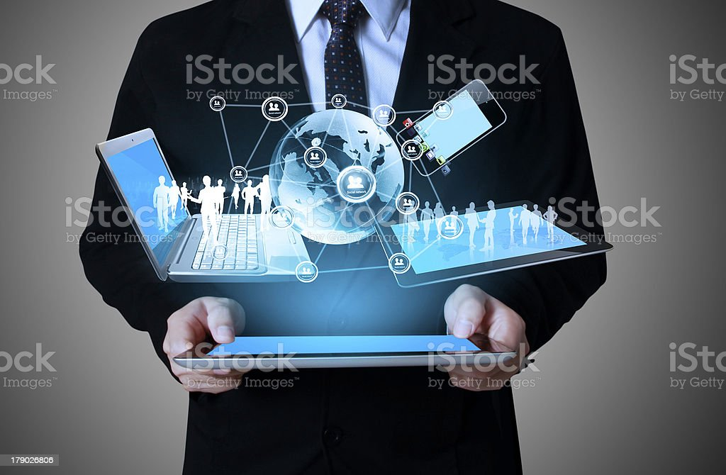touch- tablet in hands Business man stock photo