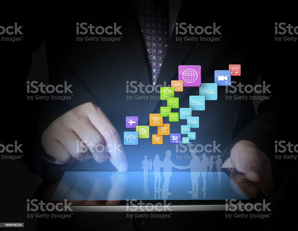 touch- tablet in hands businessmen stock photo