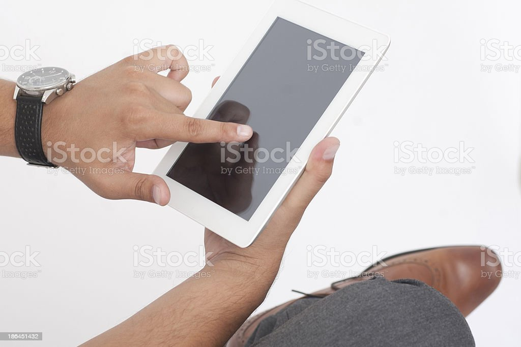 Touch the Digital Tablet royalty-free stock photo