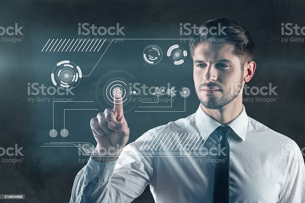 Touch the future. stock photo