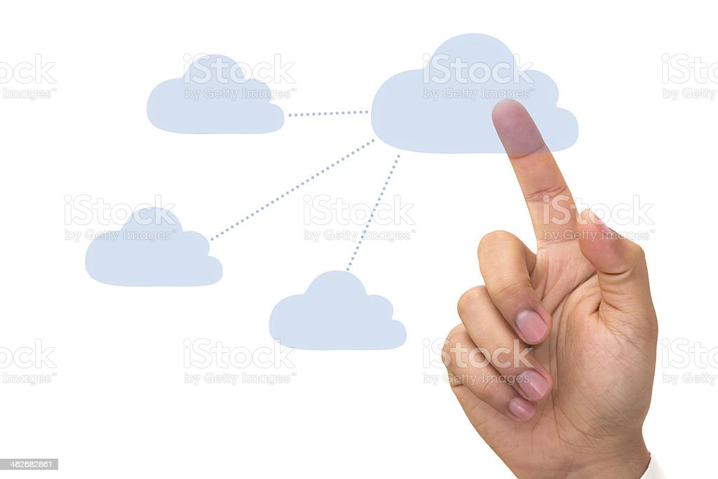 Touch to cloud network royalty-free stock photo