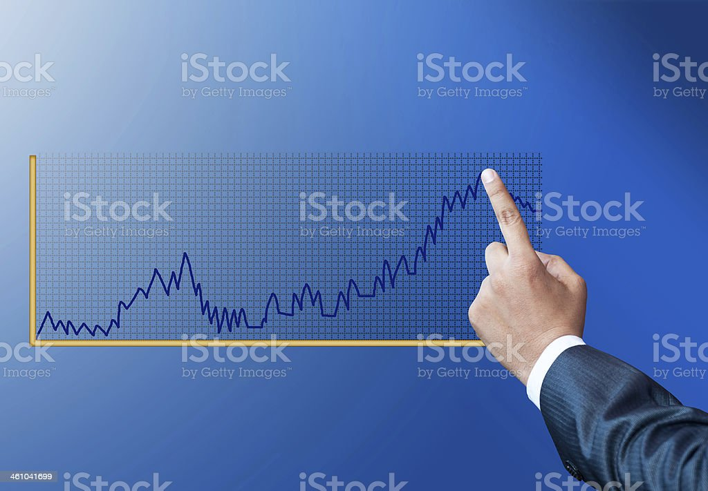 Touching business graph stock photo