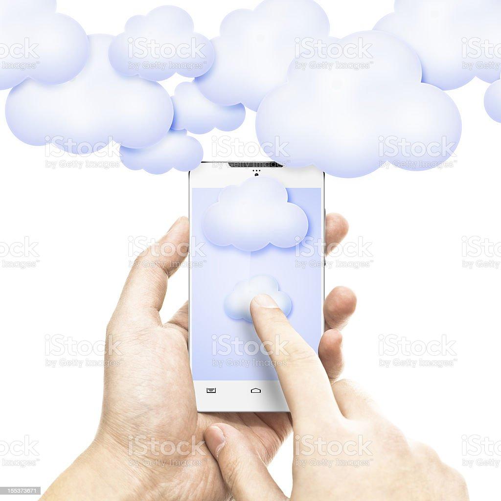 touching cloud computing royalty-free stock photo