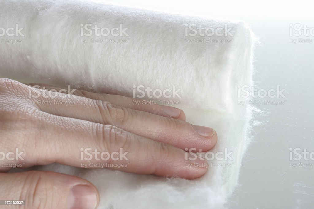 touching cotton wool royalty-free stock photo