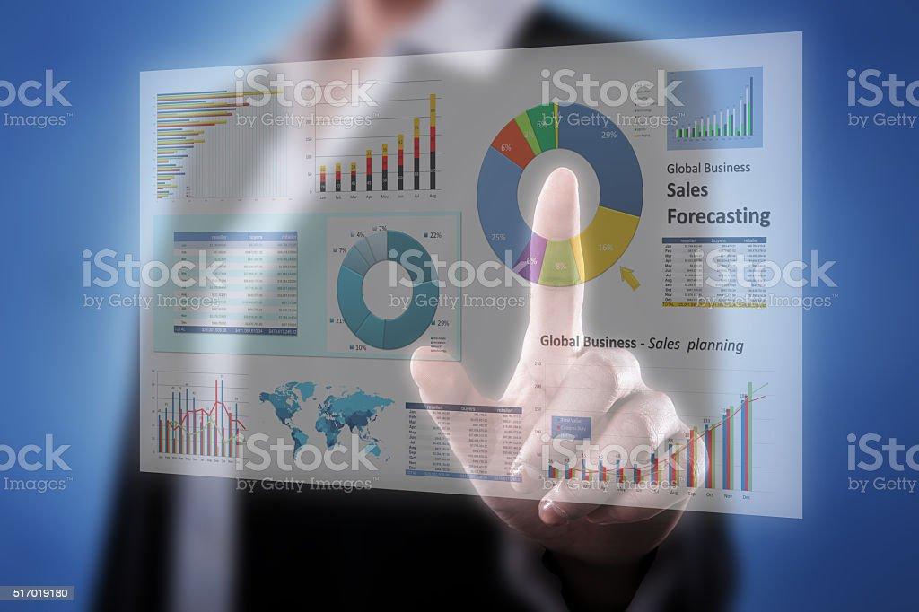 Touching Financial Dashboard stock photo