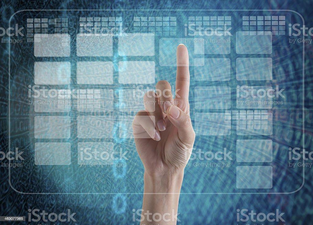 Touching Interface stock photo