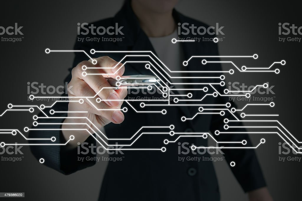 touching screen interface on circuit board stock photo