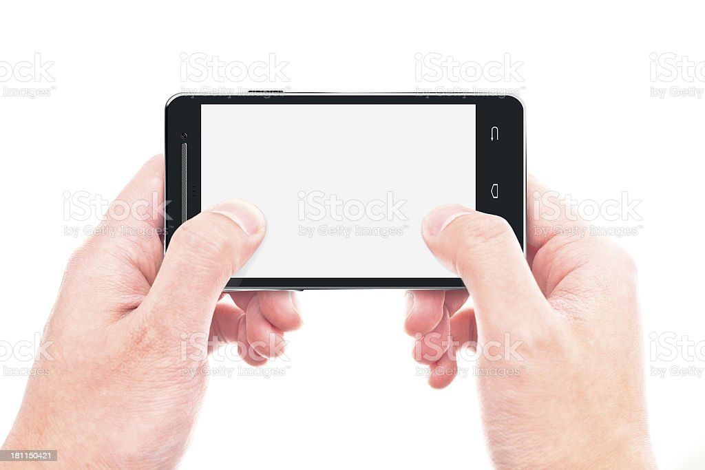 touching screen on smart phone royalty-free stock photo