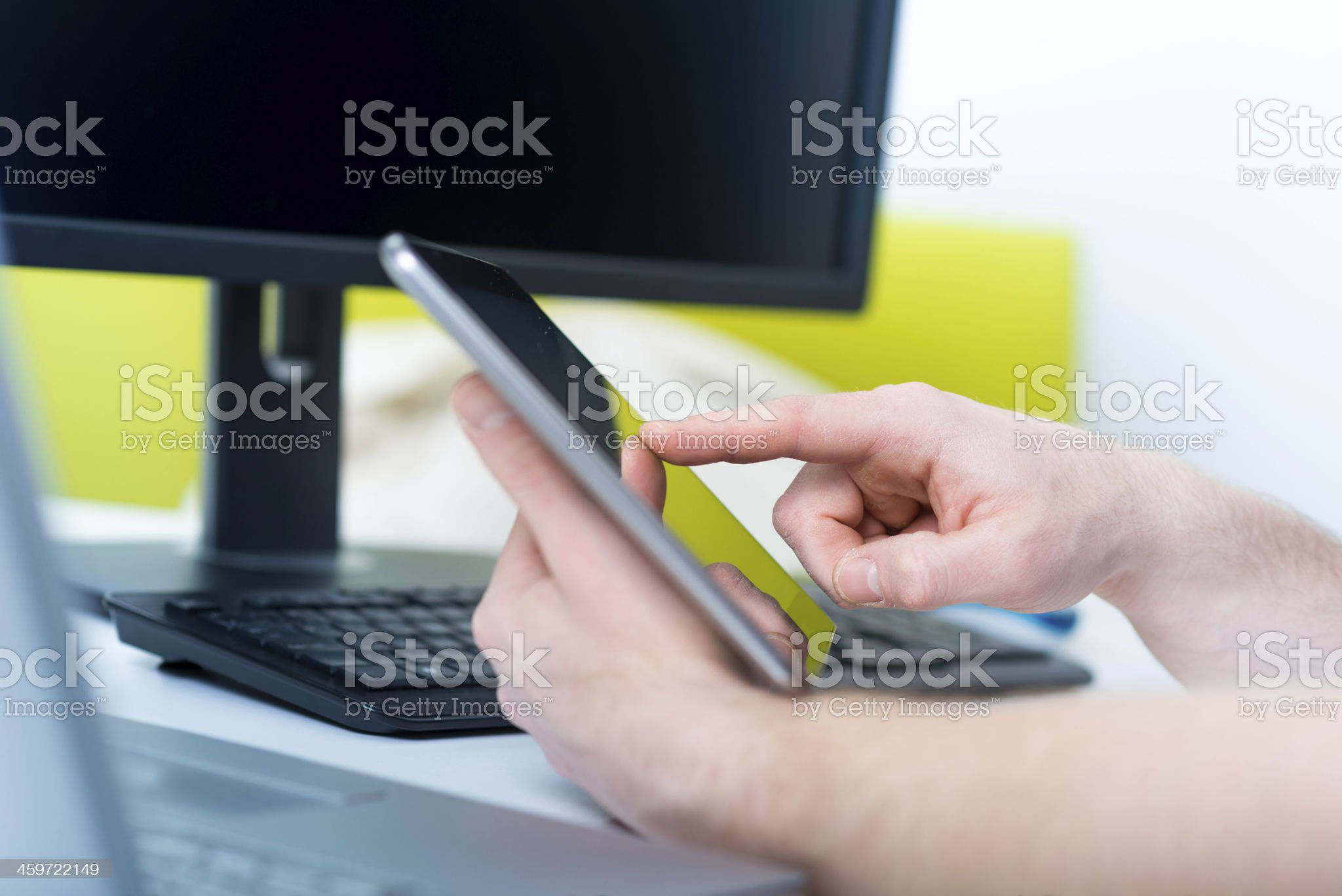 Touching Screen On Tablet PC royalty-free stock photo
