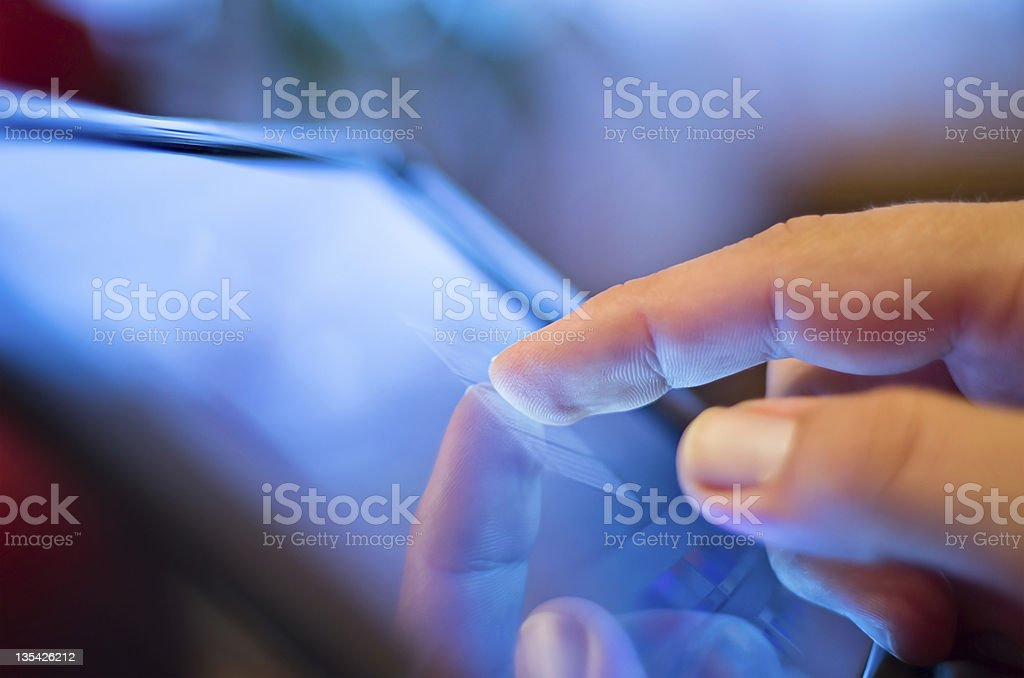 touching screen on tablet-pc stock photo