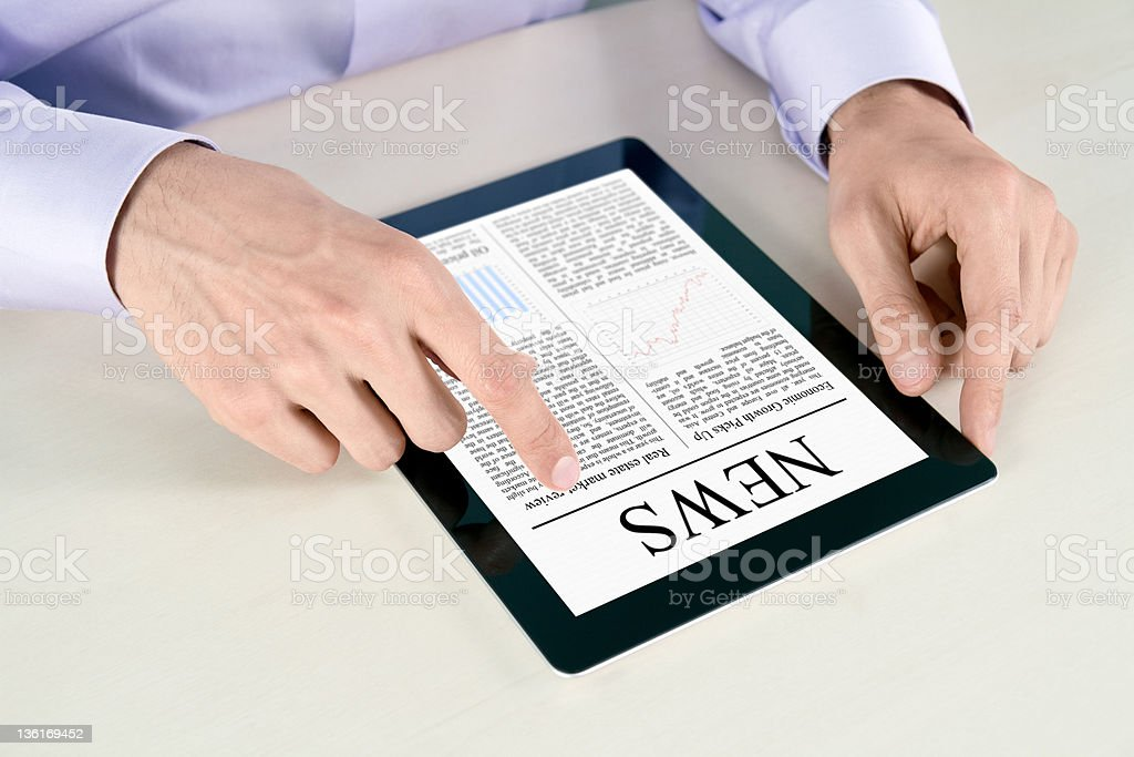Touching Screen With News On Tablet PC royalty-free stock photo