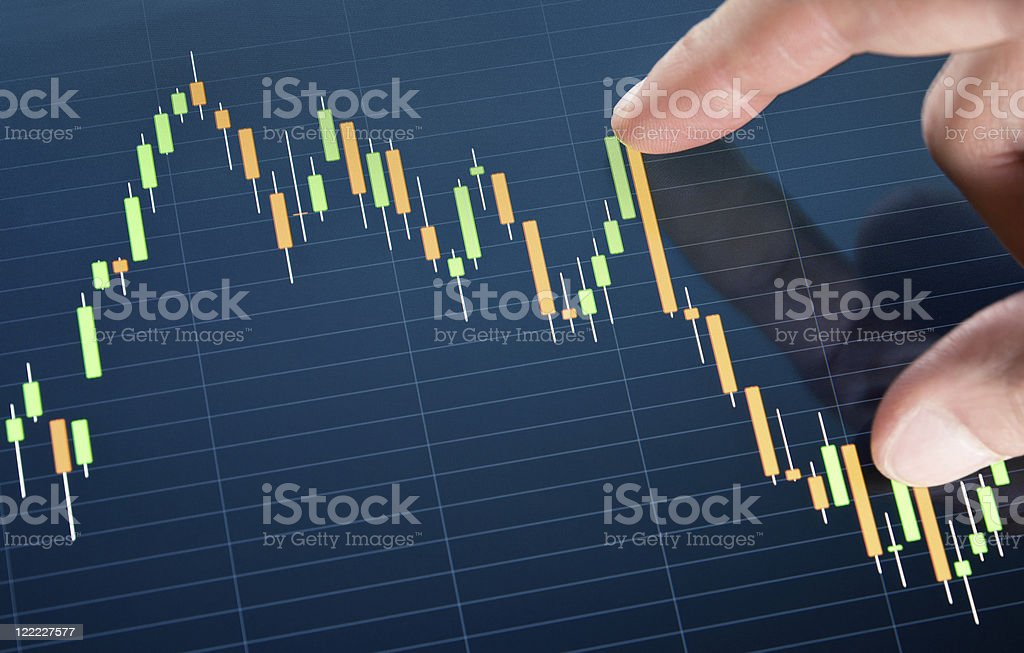Touching Stock Market Chart royalty-free stock photo