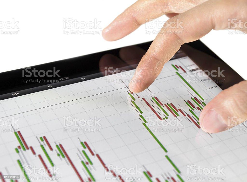 Touching Stock Market Chart royalty-free stock photo