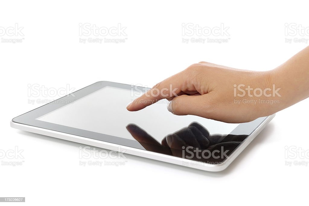 Touching tablet pc royalty-free stock photo