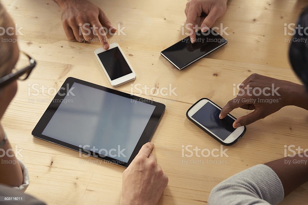 Touching the future of business stock photo