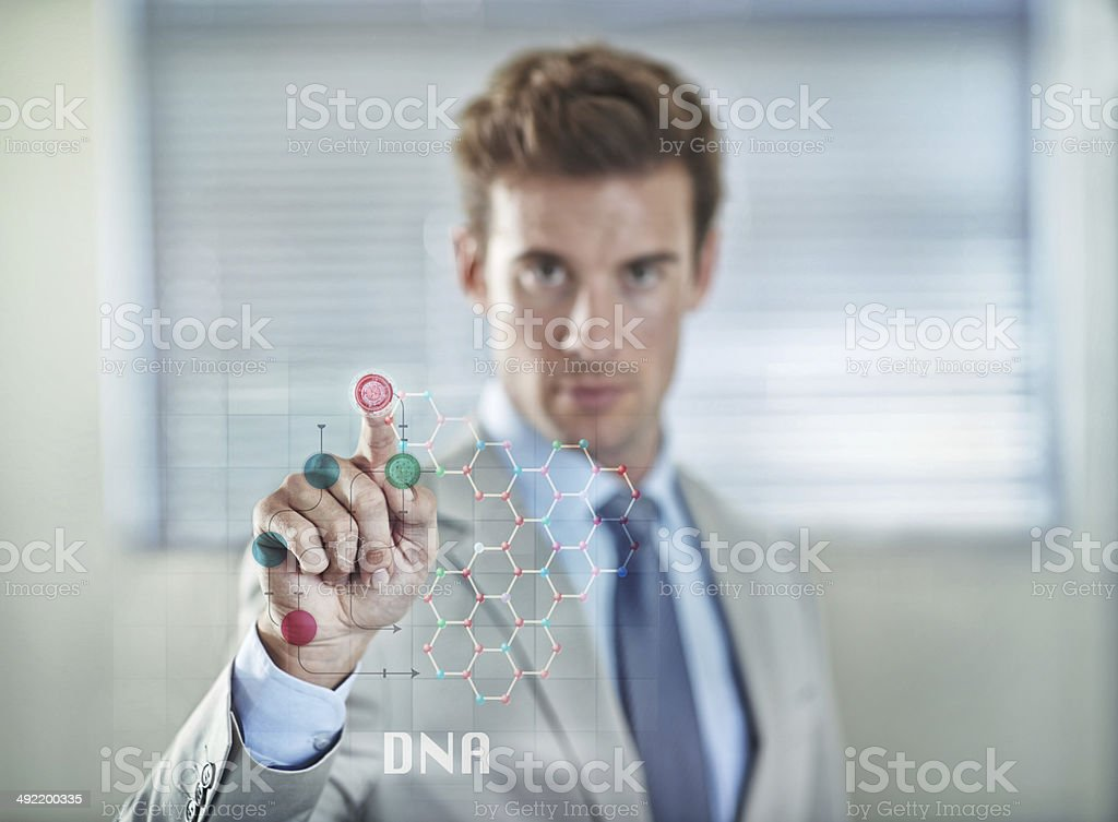 Touching the future of modern security stock photo