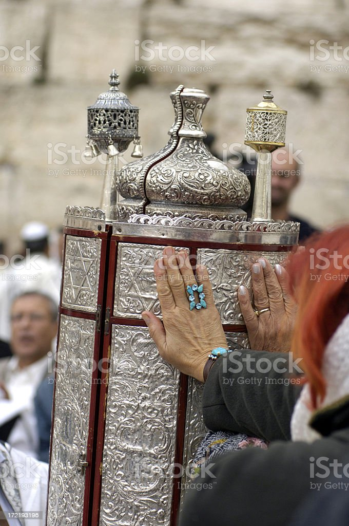 Touching the torah stock photo