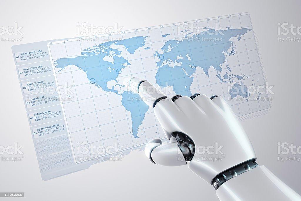 Touching virtual worldmap royalty-free stock photo