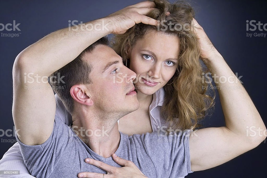 Touching your hair stock photo