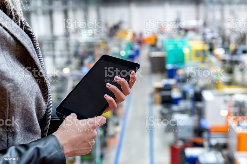 Touchpad data in factory stock photo