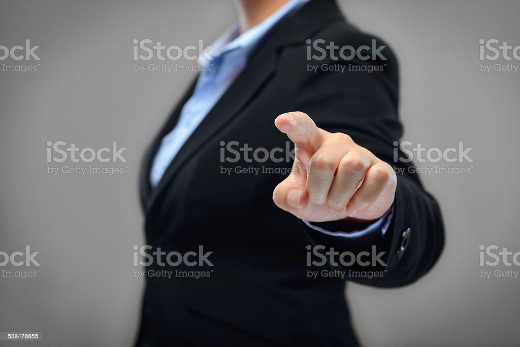 Touchscreen Businesswoman stock photo