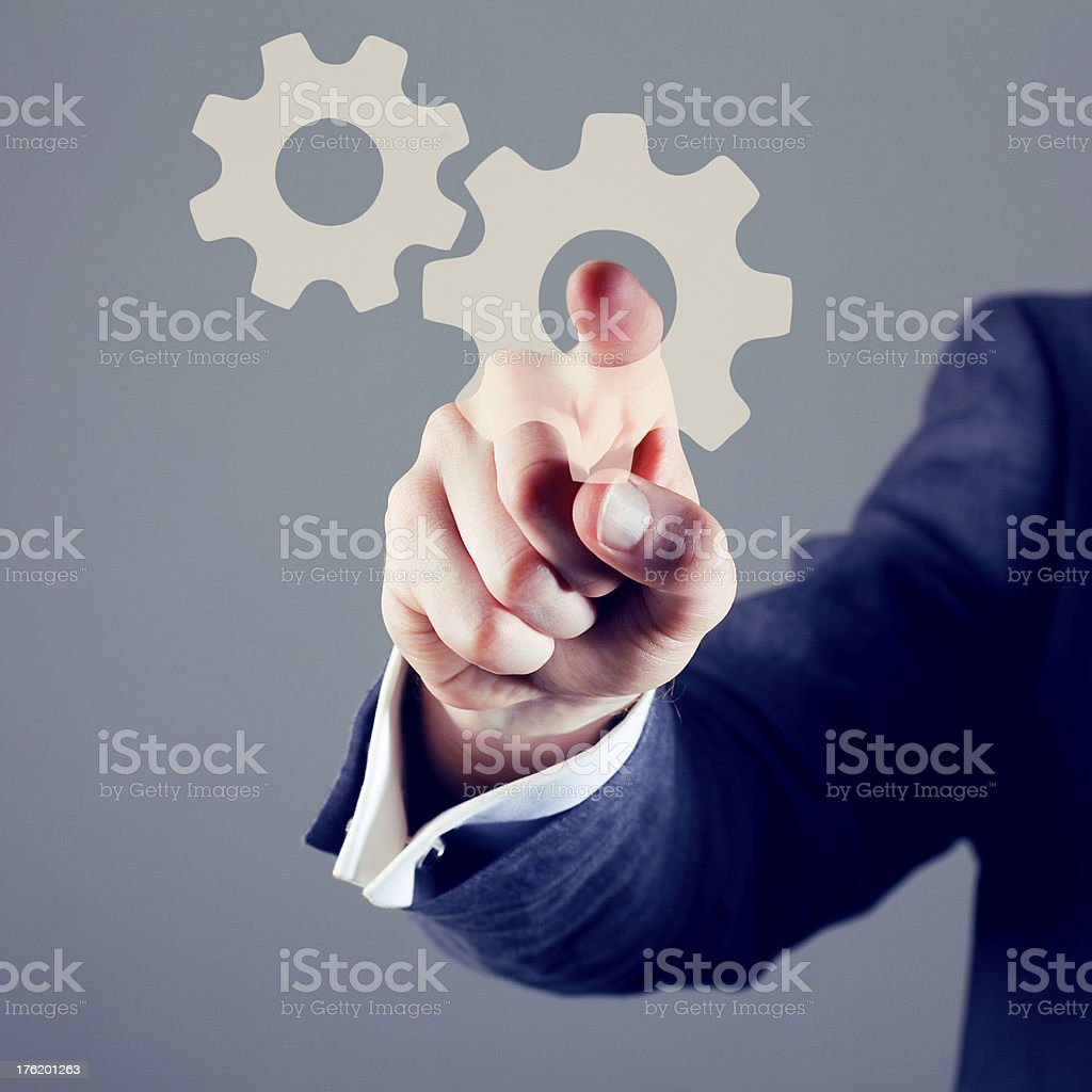 Touchscreen cog and gears royalty-free stock photo