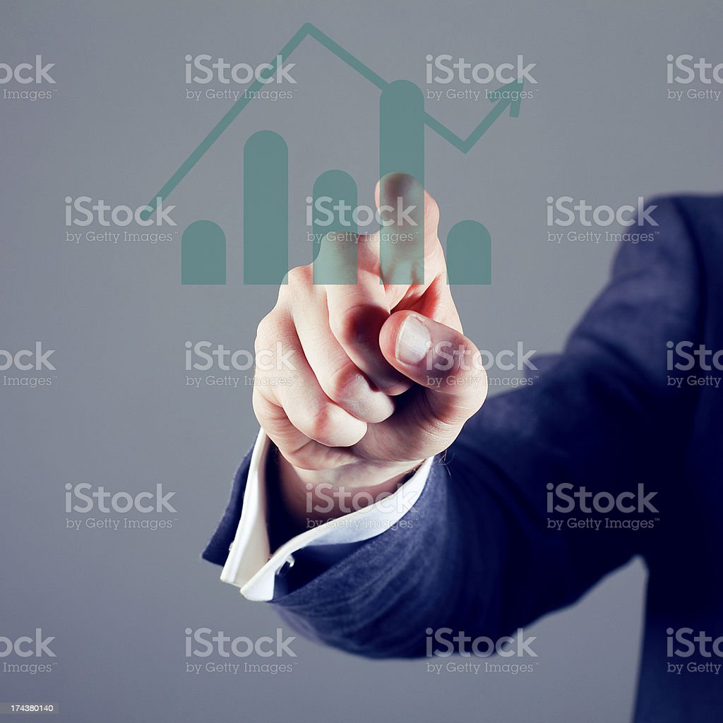 Touchscreen graph royalty-free stock photo